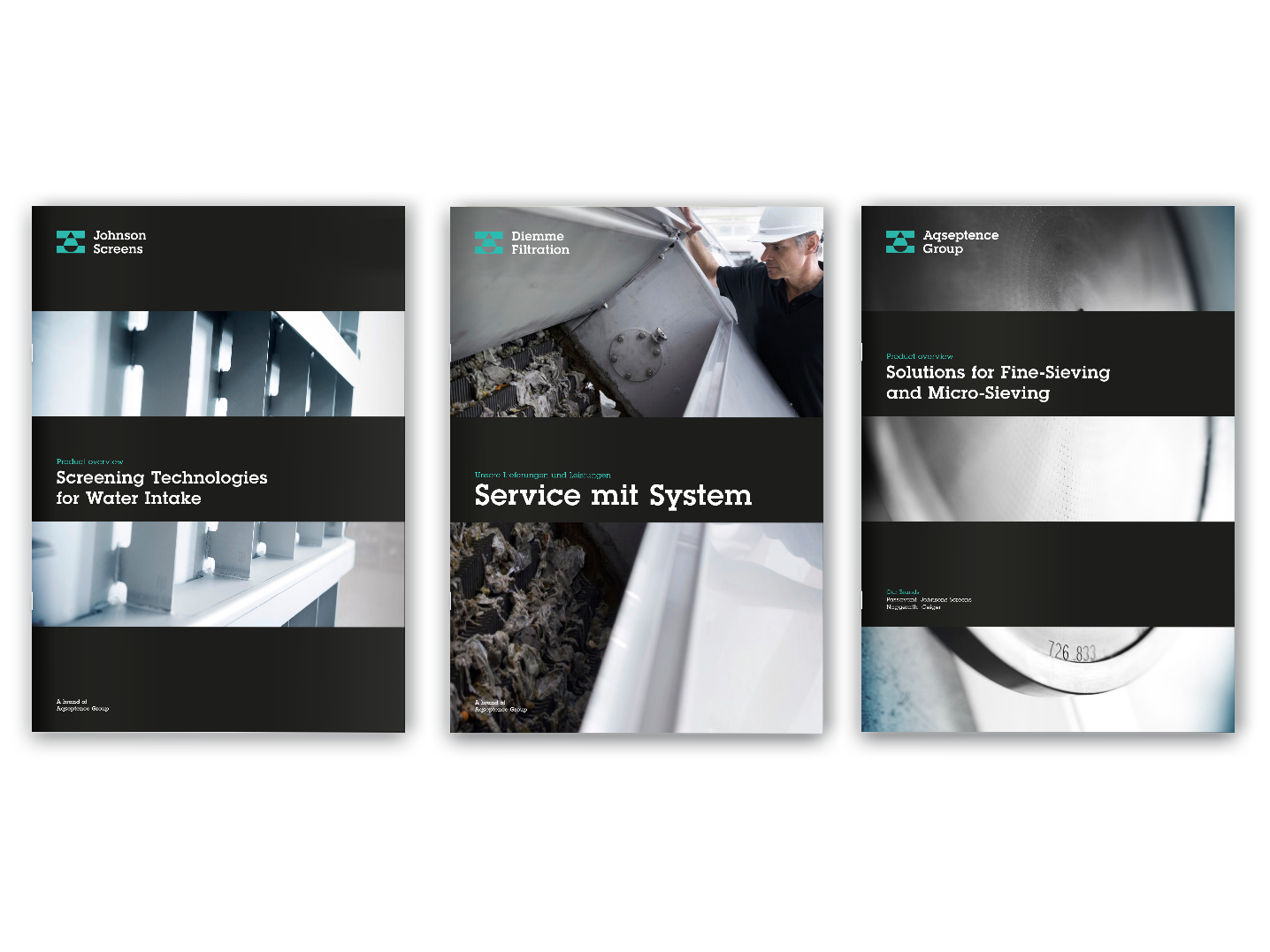 Aqseptence three brochure covers