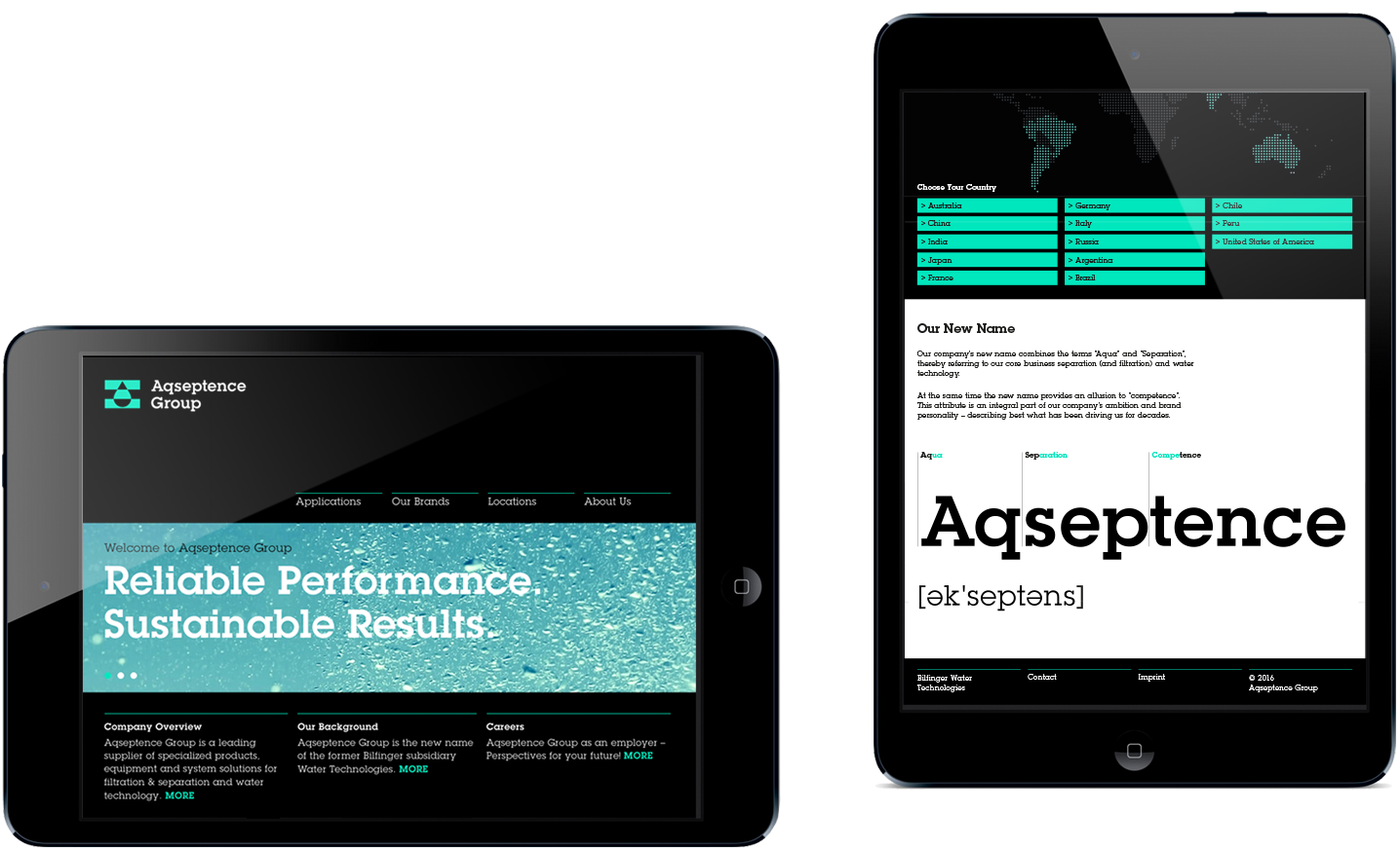 Aqseptence website on iPad
