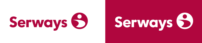 Serways logo, coloured positive and negative